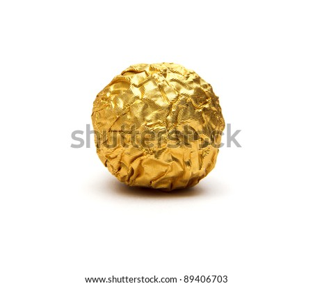 Chocolate balls on white background