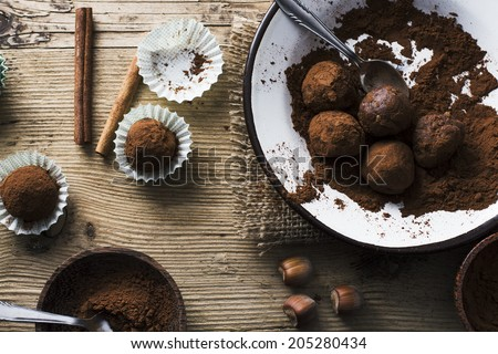 Chocolate Balls on wooden background