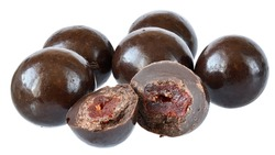 Chocolate balls with dried cherry close up isolated on a white background.