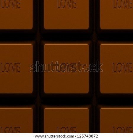 Chocolate bar close up with a love message. Illustration.