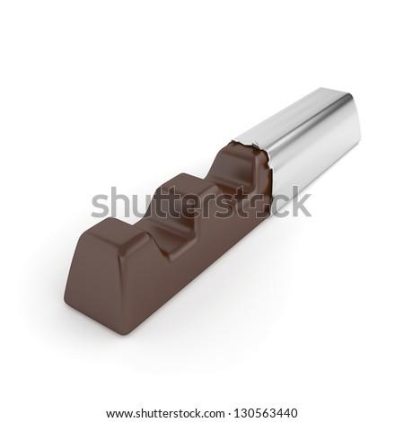 Chocolate bar in silver foil