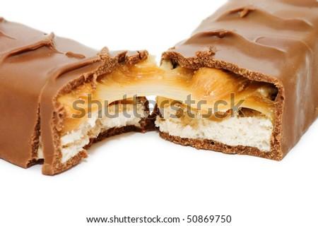 Chocolate bar isolated on white background - stock photo