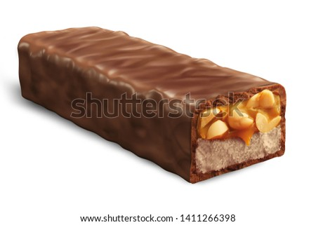 Chocolate bar isolated white background. Sweet chocolate bar with nuts and caramel. Cracked Chocolate bar with caramel, nougat, coconut with Clipping path. 3d rendering - Illustration