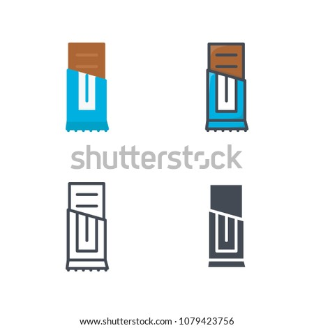 Chocolate bar sweets food illustration flat line silhouette colored icon