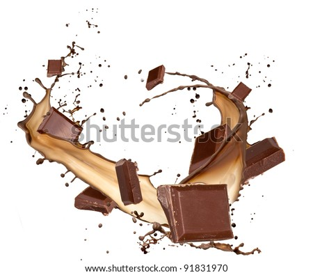 Chocolate bars in chocolate splash, isolated on white background