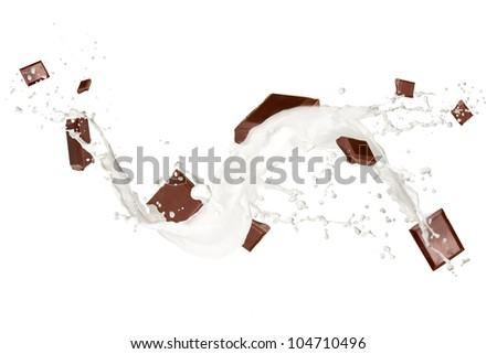 Chocolate bars in milk splash, isolated on white background