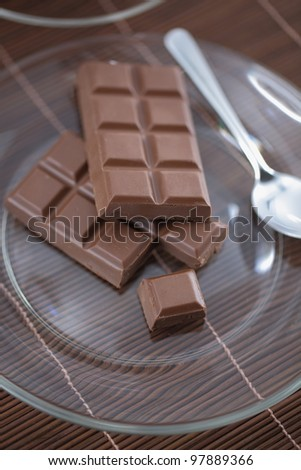 Chocolate bars on a glass plate.