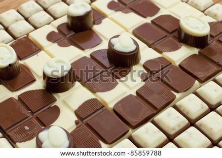 chocolate bars with chocolate candies