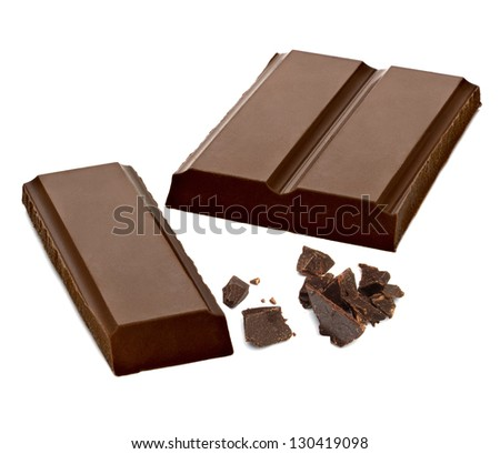 Chocolate Bars With Particles On White Background