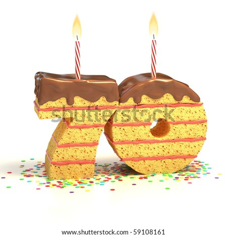 Chocolate birthday cake surrounded by confetti with lit candle for a seventieth birthday or anniversary celebration