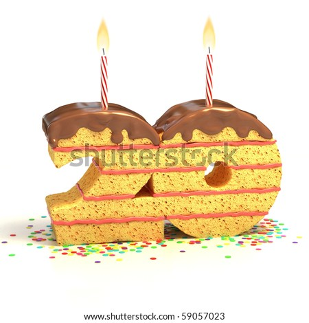 Chocolate birthday cake surrounded by confetti with lit candle for a twentieth birthday or anniversary celebration