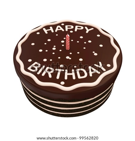 Chocolate Birthday Cake with Candle isolated on white background