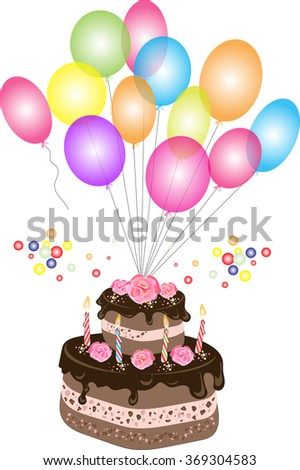 Fun Vanilla Birthday Cake With Pink Frosting And Balloons Over