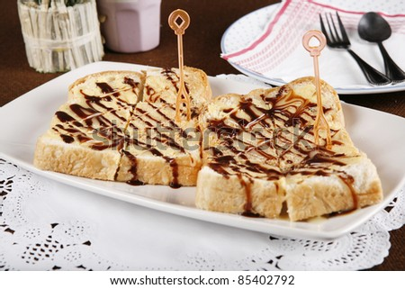 chocolate bread, toast bread with chocolate dessert.