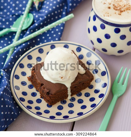 Chocolate brownie a la mode and a cup of coffee Imagine de stoc ©