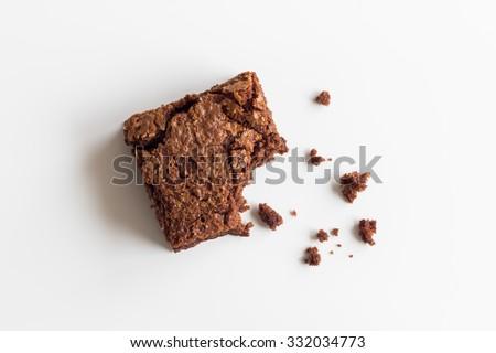 Chocolate brownie, bitten off