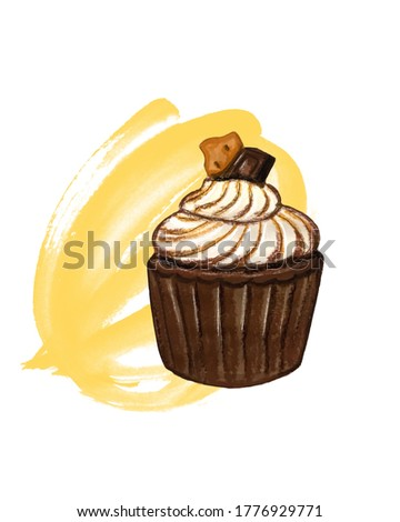 chocolate brownie illustration. sweet muffin sketch. sweets are delicious. oil pastel texture.