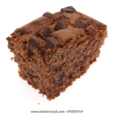 chocolate brownie isolated on a white background