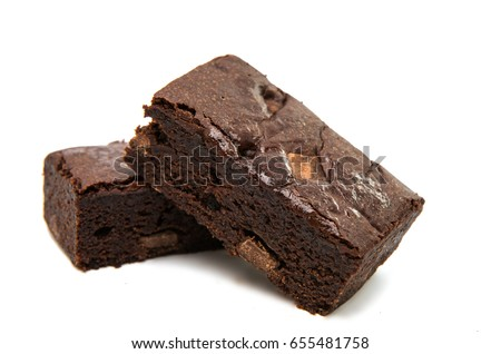 Chocolate Brownie isolated on white.