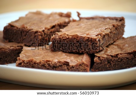 Chocolate Brownies on a White Platter