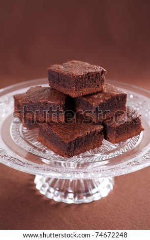 Chocolate brownies on the cake stand