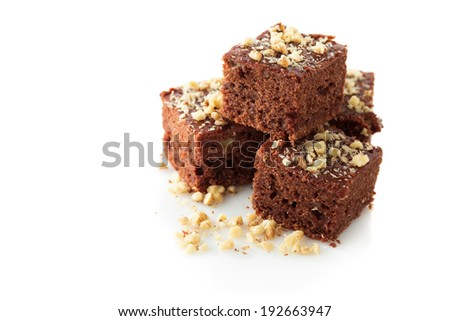 Stock Photo Chocolate brownies with walnut, close up