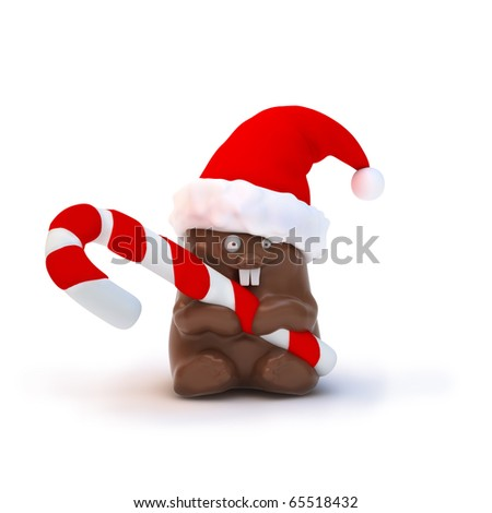 Chocolate bunny in santa's hat with christmas candy