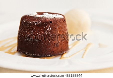 Chocolate Cake and vanilla ice cream (shallow dof) - stock photo