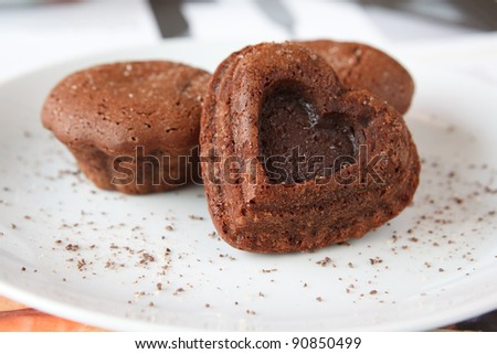 chocolate cake in the shape of a heart