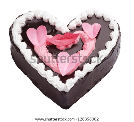 Chocolate cake in the shape of heart isolated on white