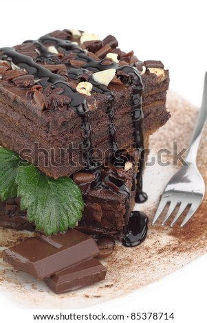 Chocolate cake on a plate