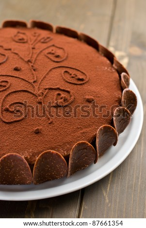 Chocolate cake on a wooden table