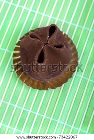 chocolate cake on green textured background