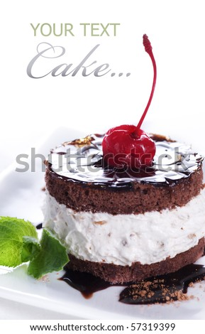 Chocolate Cake over white