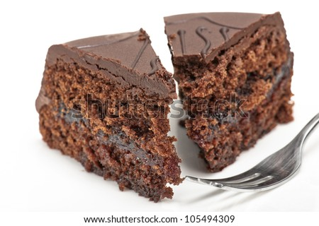 chocolate cake sacher with fork on white background