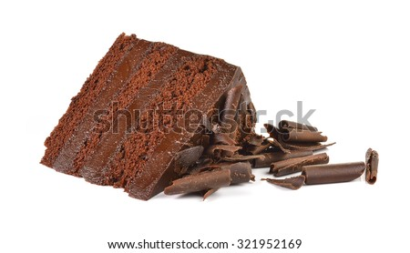 Chocolate cake slice with curl on white background