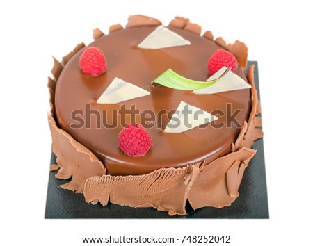 Chocolate cake with berries isolated