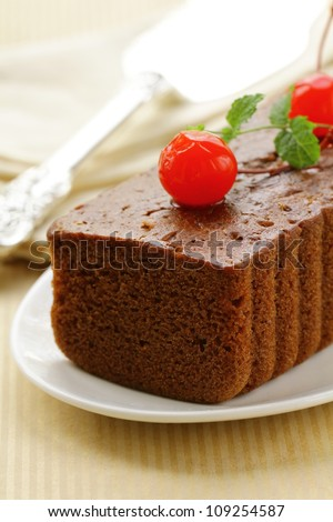 chocolate cake with cherries and mint
