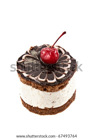 Chocolate cake with cherry isolated on white