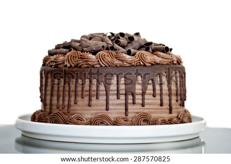 Chocolate Cake with Chocolate Fudge Drizzled Icing and Chocolate Curls Isolated on White Backdrop