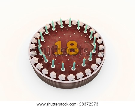 chocolate cake with eighteen candles isolated on white background