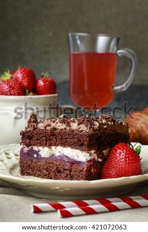 Chocolate cake with fruit layers #421072063