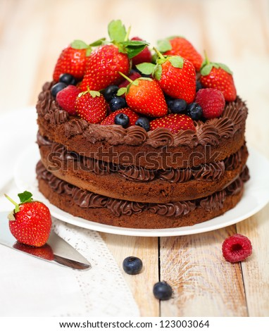 Chocolate cake with icing and fresh berry on light background