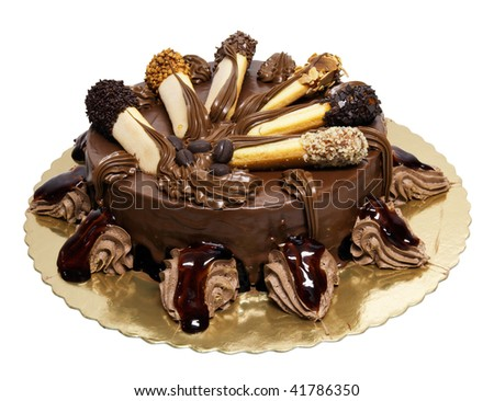 Chocolate Cake With Lady-Fingers Isolated On White Stock Photo ...