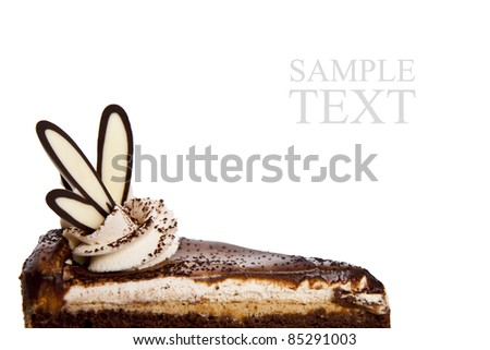 Chocolate Cake with Luxury topping isolated background - stock photo