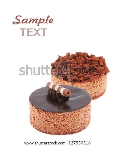 chocolate cake with sample text  (easy removable text) isolated on white background