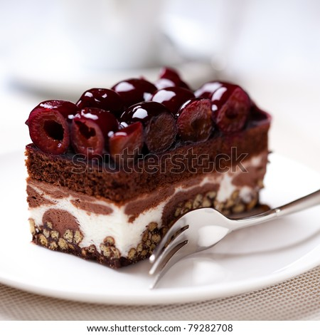 Chocolate cake with sour cherries