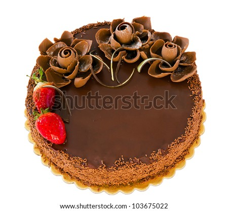 Chocolate cake with strawberries isolated