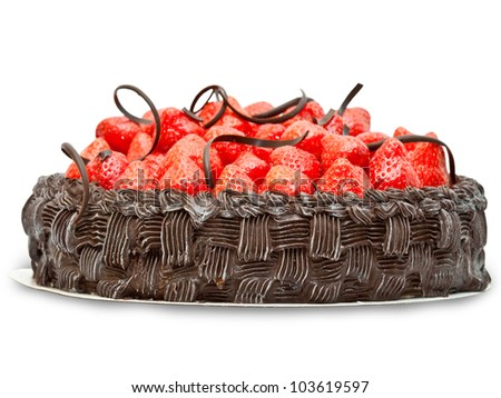 Chocolate cake with strawberry  isolated on white background