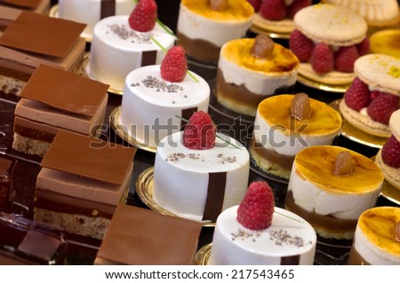 chocolate cakes on display a...